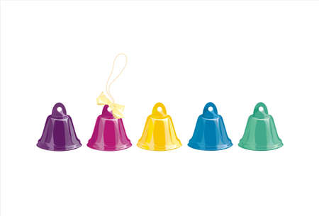 five bells of different colors on a white background