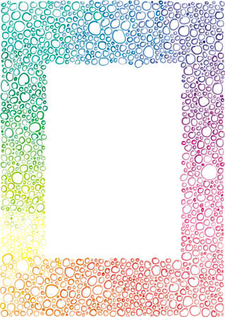 violet red: frame of the little colored bubbles, circles,  hand-drawn