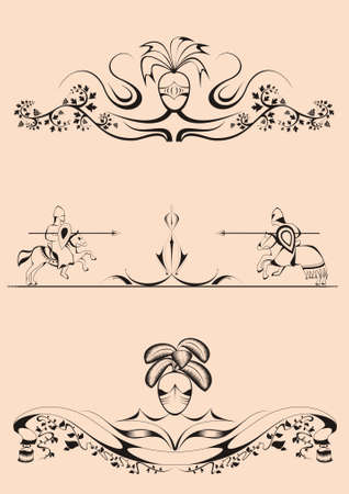 decorative elements in the baroque-Romanesque style,tilt, joust, dividers Vector
