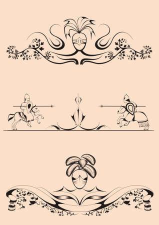 decorative elements in the baroque-Romanesque style,tilt, joust, dividers Illustration