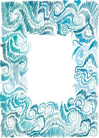 frame with marine motif, scrolls, wave, hand-drawn Illustration
