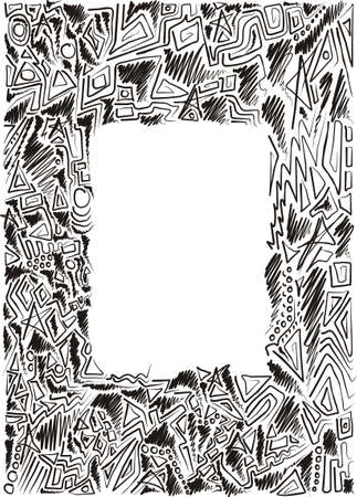 frame is hand-painted, graphic, children, black and white Vector