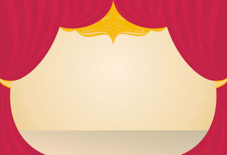 broadway show: stage in a theater, a red curtain, beige floor, background