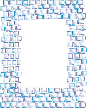 frame made of painted rectangles, squares of mosaic, hand-drawn
