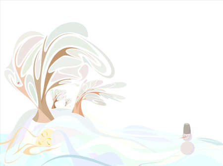the girl in the form of land in the winter sleeping trees, field Illustration