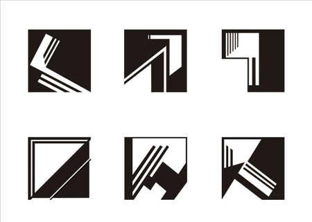 six logos built on a square, black and white Vector