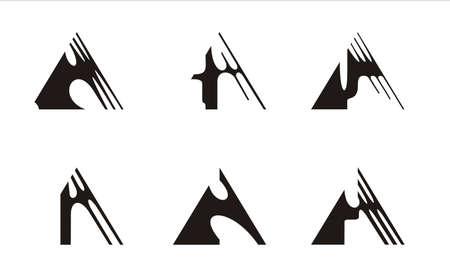 prisma: seis logotipos construido sobre la base del tri�ngulo, en blanco y negro