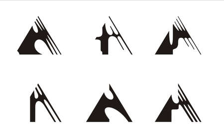 six logos constructed on the basis of the triangle, black and white Vector