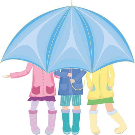 trois enfants debout sous un parapluie en bottes de caoutchouc