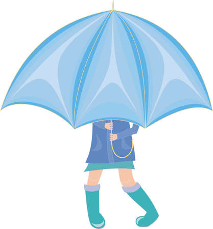 rain cartoon: little Girl standing under an umbrella in rubber boots Illustration