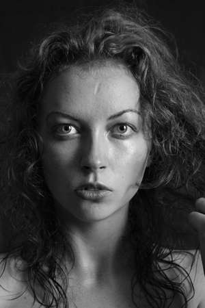 black and white portrait of a girl a woman with big eyes and curly hair Stock Photo - 12888805