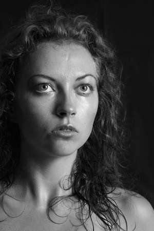 black and white portrait of a girl a woman with big eyes and curly hair Stock Photo - 12888866