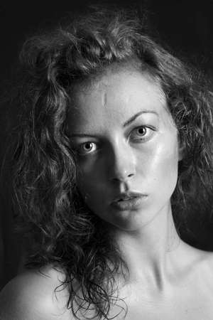 black and white portrait of a girl a woman with big eyes and curly hair Stock Photo - 12888867