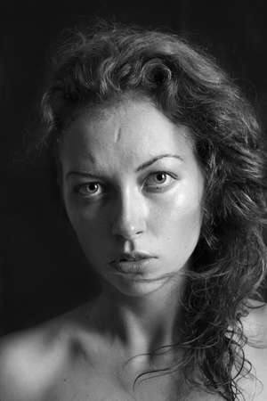 black and white portrait of a girl a woman with big eyes and curly hair Stock Photo - 12888807