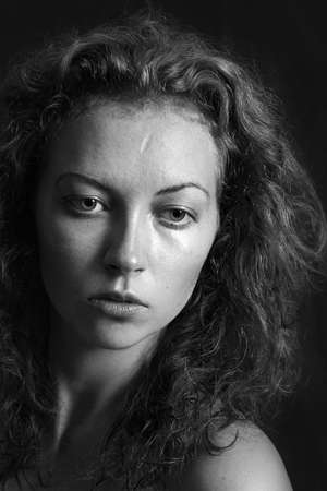 black and white portrait of a girl a woman with big eyes and curly hair Stock Photo - 12888864