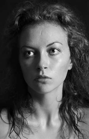 black and white portrait of a girl a woman with big eyes and curly hair Stock Photo - 12888871