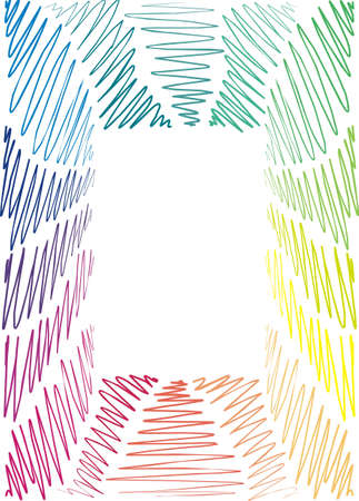 frame is hand-painted, graphic, children, rainbow,  wave, hand-drawn