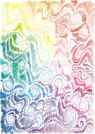 background with floral motif, scrolls, wave, hand-drawn