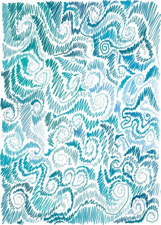 background with marine motif, scrolls, wave, hand-drawn