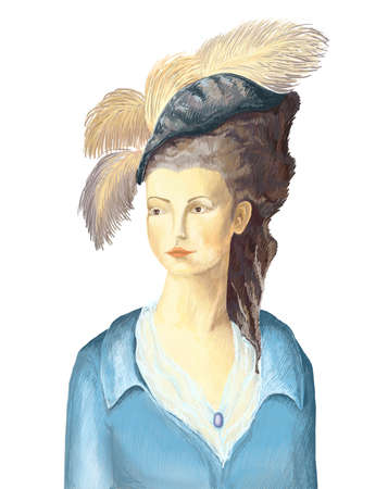 drawn by a woman in a hat with feathers in the style of 18th century