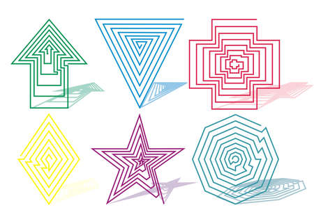 symbols from swirling spiral arrow, triangle, cross, square, star, diamond, octagon Vector