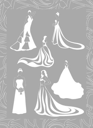 six figures of brides in full growth in a lace frame Vector