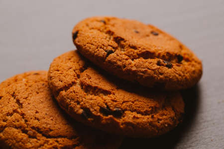 Fresh cookies with chocolate on a dark background.