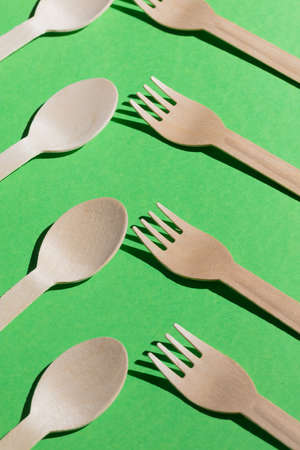small business concept, wooden products,exhibition of spoons and forks