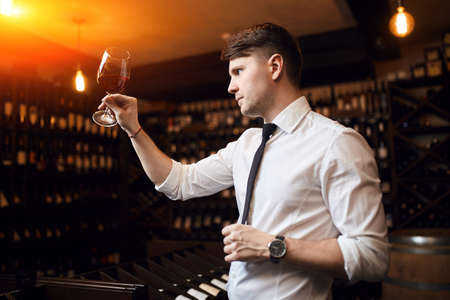 young pleasant man identifying and discussing wines, referencing the varietal, place of origin, and vintage.close up side view photo Imagens - 122596852