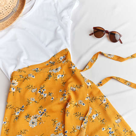 presentation of Turkish summer outfit. top view photo. flat lay Foto de archivo