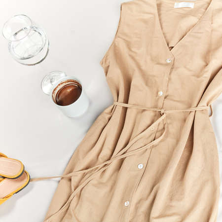 brown and beige colors in clothing. top cropped view photo.
