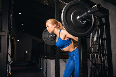 slim woman with perfect body, abs working out at gym. close up side view photo. strength training program Stock Photo