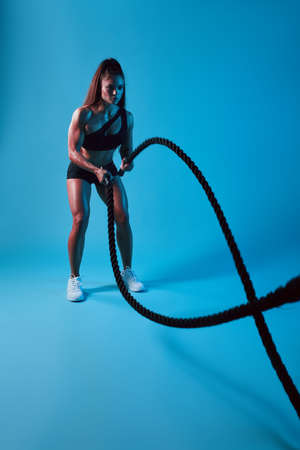 slim pleasant ambitious woman making a wave with battle ropes, full length photo. isolated blue background, studio shot. Banco de Imagens