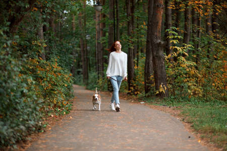 young ginger woman in white stylish sweater, jeans having a rest with her pet outdoors, full length photo