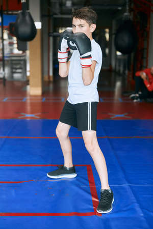 full length photo of a sporty boy is ready to box, hobby, interest, lifestyle, preparation to attack, challenge
