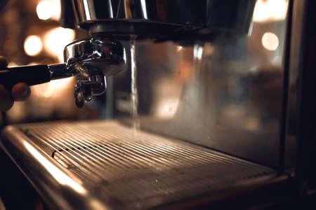 broken coffe machine in steam . close up side view photo, cropped image 版權商用圖片