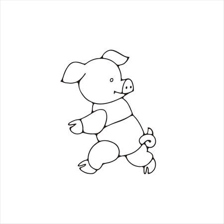 Piglet in panties. Cute pig with curly tail. Running animal. Black and white color. Isolated vector illustration. Иллюстрация