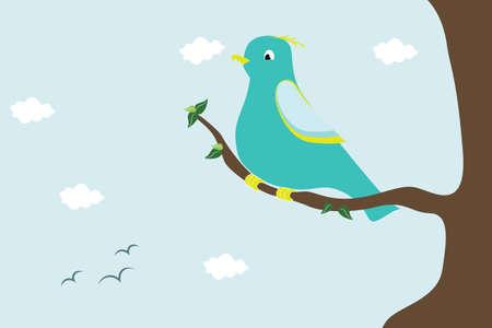 perching: Blue bird perching  branch