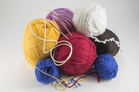 Skeins of wool and knitting needles hobbies needlework, needle. Stock Photo