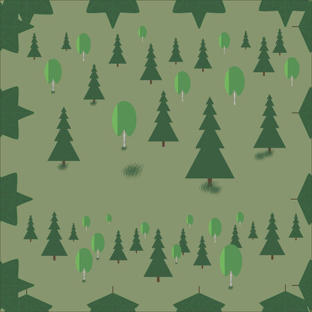 mixed forest: Mixed forest on a green background spruce birch seamless pattern.