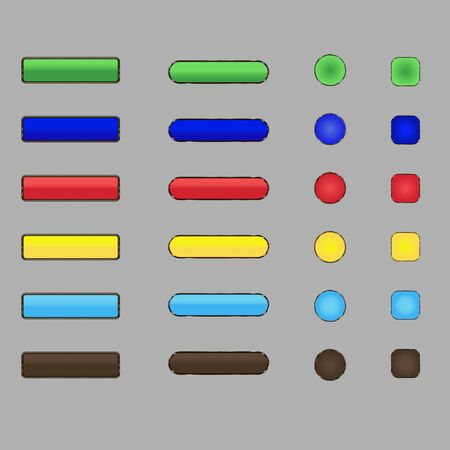 transparencies: Large collection of shiny colorful buttons Vector design elements without transparencies meshes.