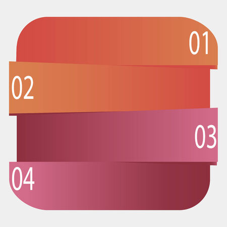 rounded edges: Banner of the rectangle with rounded edges divided into four parts.