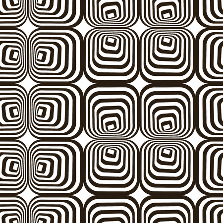 trickery: Vasarely effect optical Illusion black and white vector illustration seamless pattern.