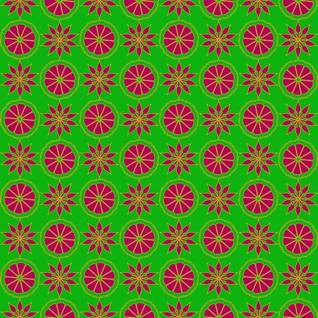 ruche: Seamless pattern with red and yellow pattern on a green background.