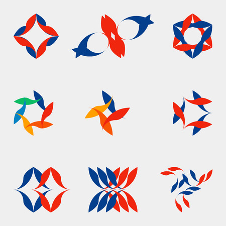 Set of color abstract geometric figures nine forms for registration of your ideas logos business concepts. Vector