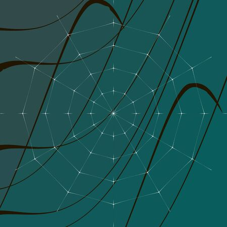 grass blades: Abstract vector illustration of a spider web on a background of blades of grass.