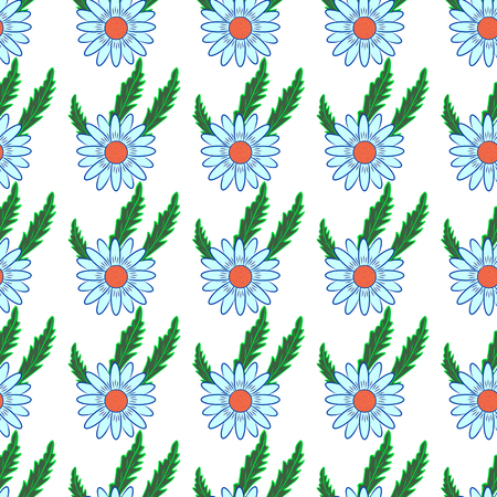 chamomel: Vector seamless pattern with chamomile leaves on a white background. Illustration