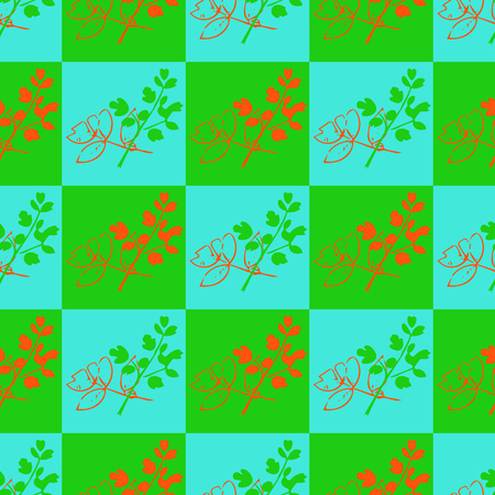 twigs: Vector illustration of twigs with leaves seamless pattern. Illustration
