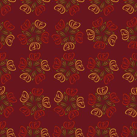 burgundy background: Background vector pattern of roses on burgundy background seamless. Illustration
