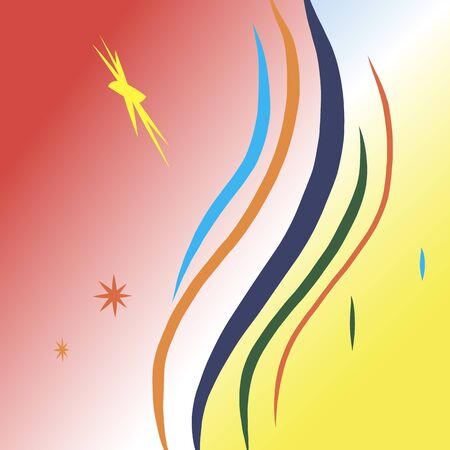 saturated color: Background vector abstraction of the vertical curves and stars.